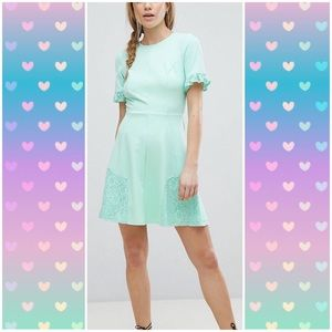 ASOS Mint Skater Dress with Lace Details Size 14